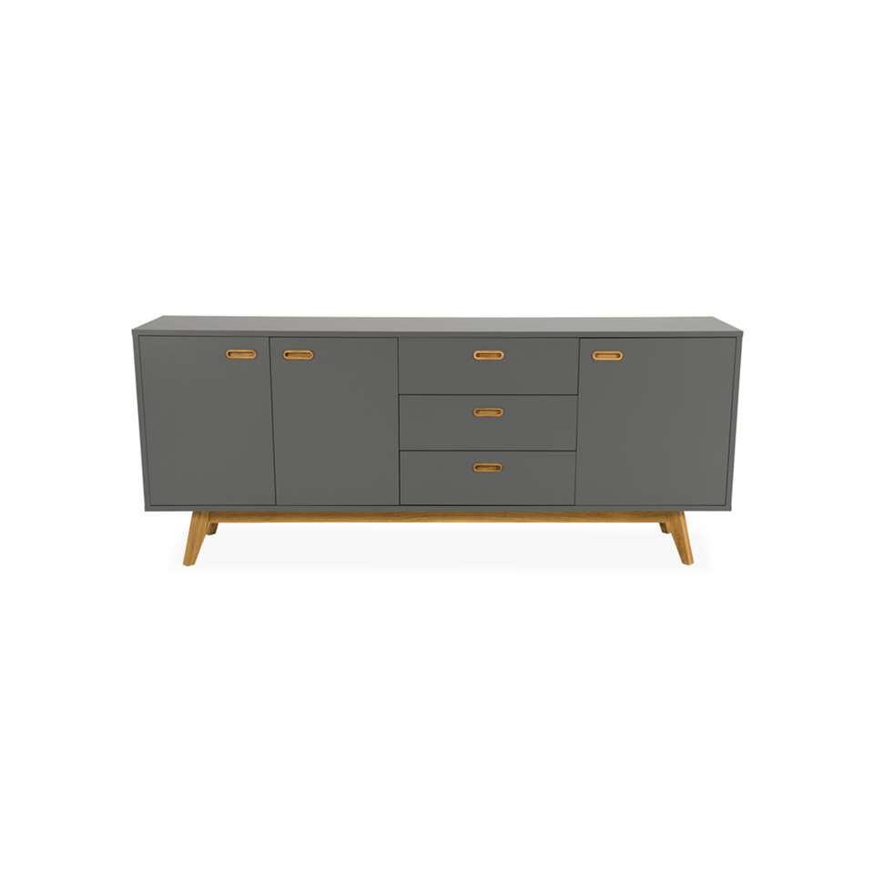 Tenzo dressoir Bess - grijs/eikenkleur - 82x200x43 cm