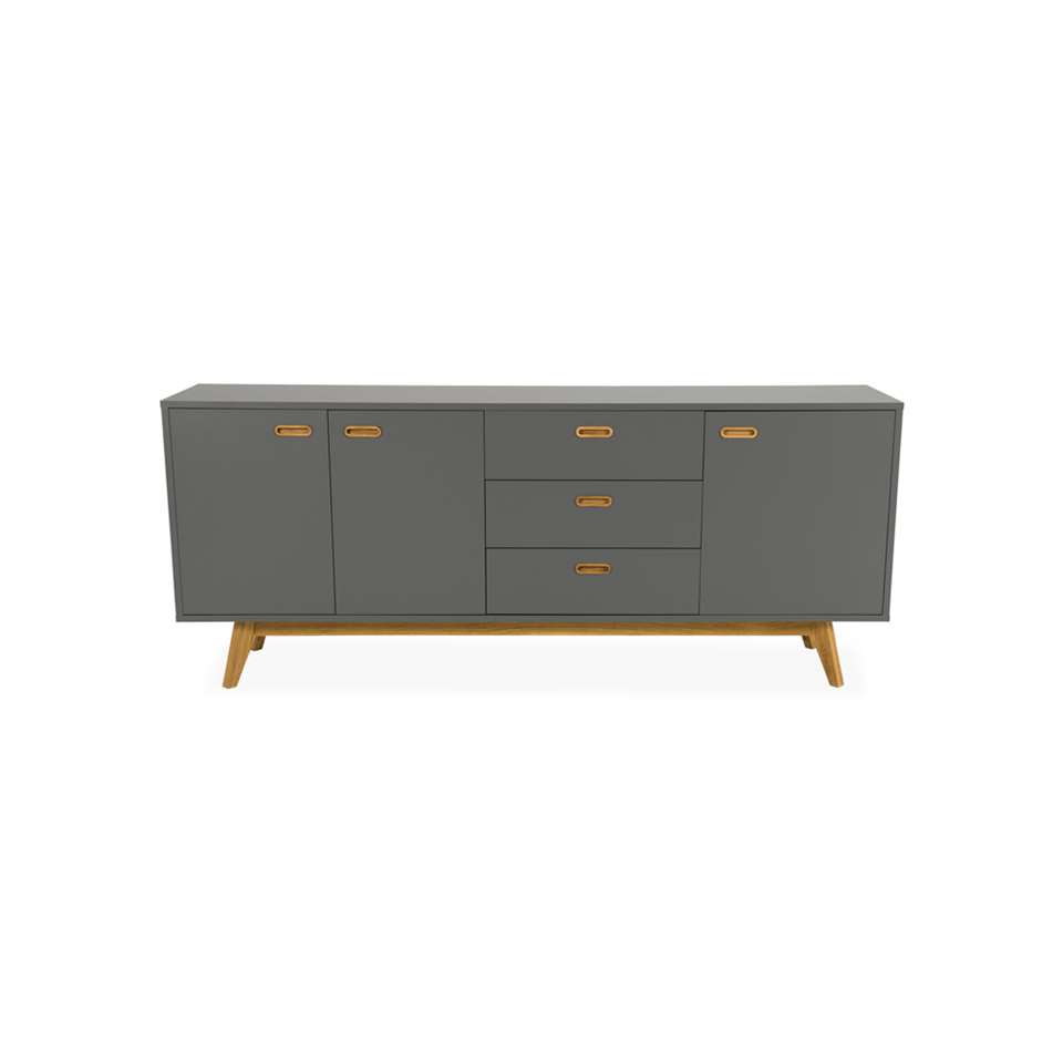 Tenzo dressoir Bess - gris/couleur chêne - 82x200x43 cm