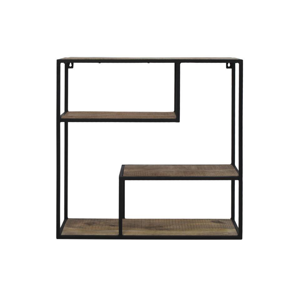 HSM Collection wandrek Levels - bruin/zwart - 65x65x20 cm - Leen Bakker