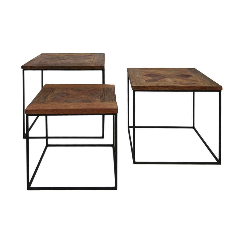 HSM Collection salontafels Austin (set van 3) - bruin/zwart