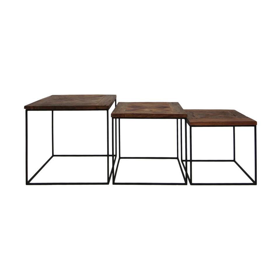 HSM Collectionsalontafels Austin (set van 3) - bruin/zwart