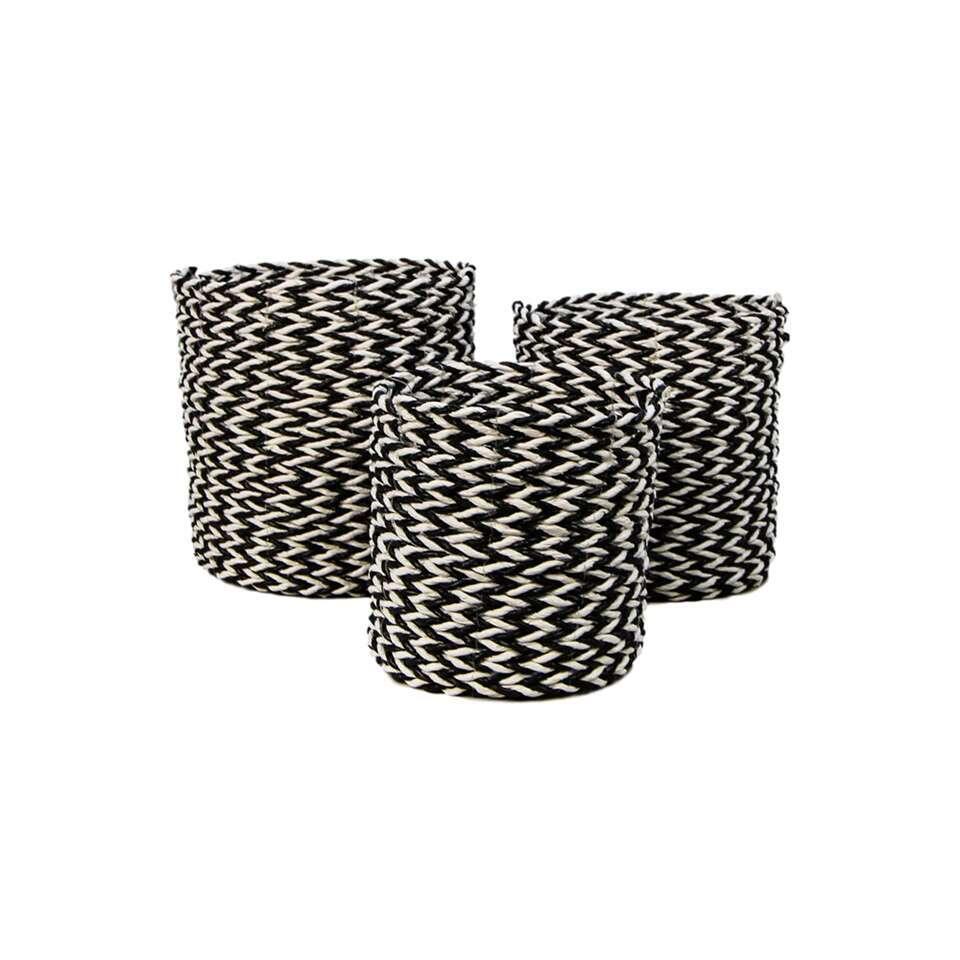 HSM Collection mandenset Enna (3 stuks) - naturel/zwart - Leen Bakker