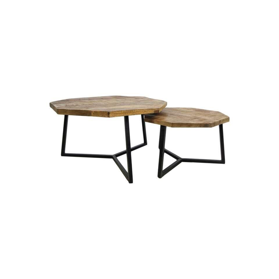 HSM Collection salontafel Urban (set van 2) - bruin/zwart
