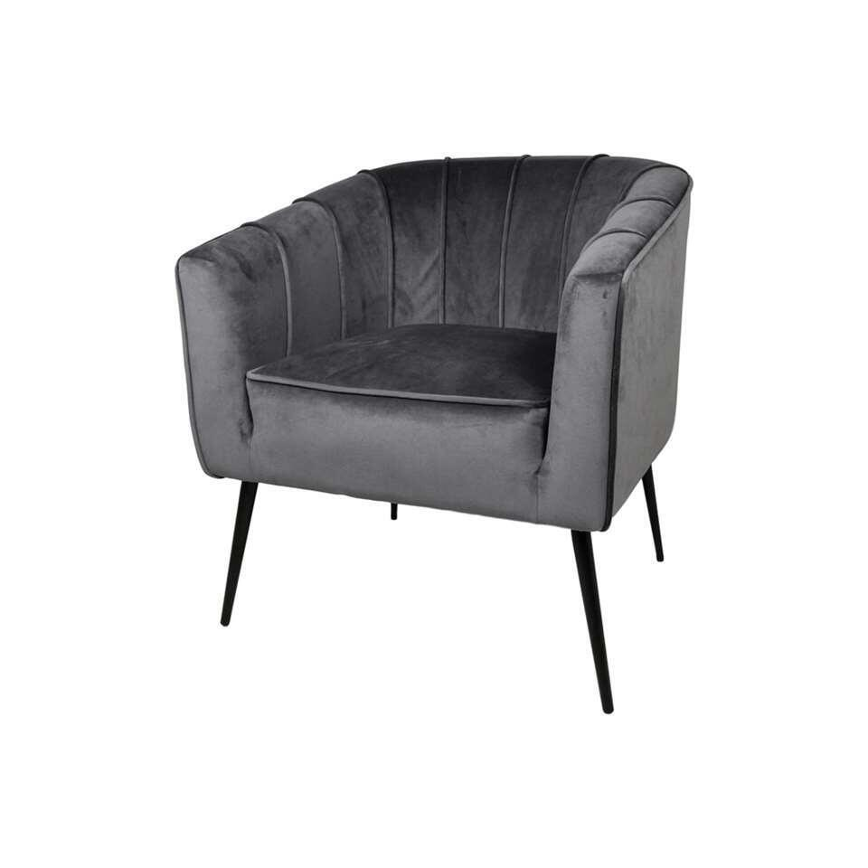HSM Collection fauteuil Chester - velvet - donkergrijs
