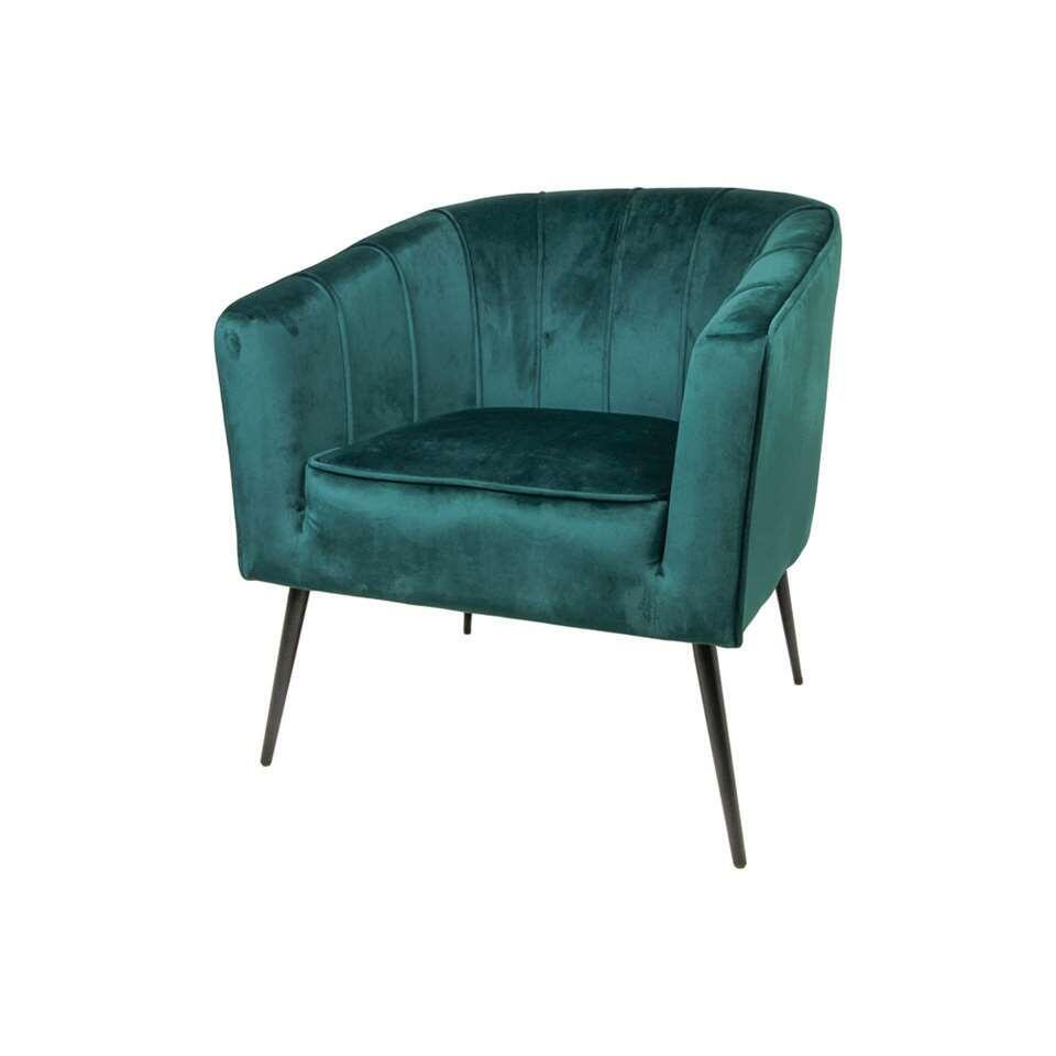 HSM Collection fauteuil Chester - velvet - donkergroen