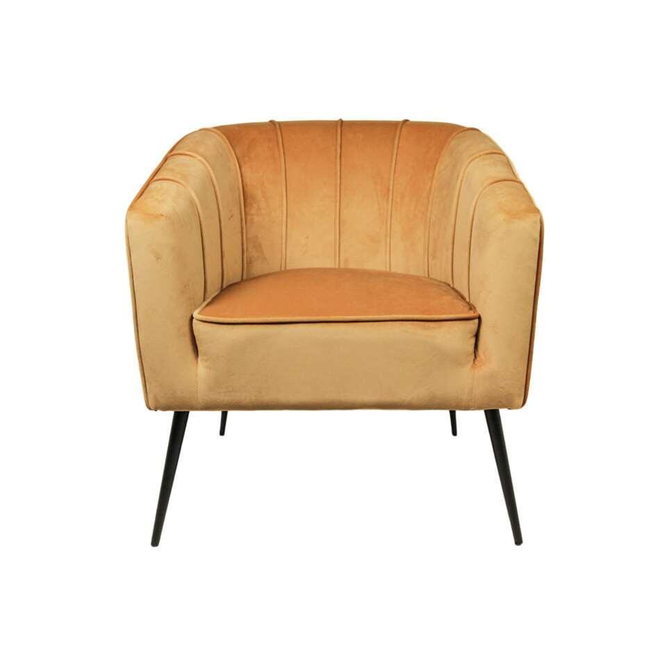 HSM Collection fauteuil Chester - velvet - mosterdgeel - Leen Bakker