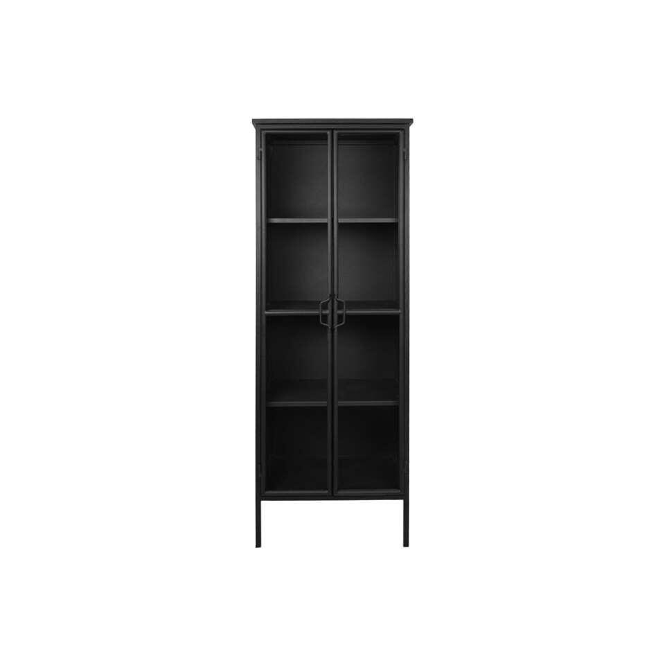 Vitrinekast Manhattan - zwart - 180x63x38 cm