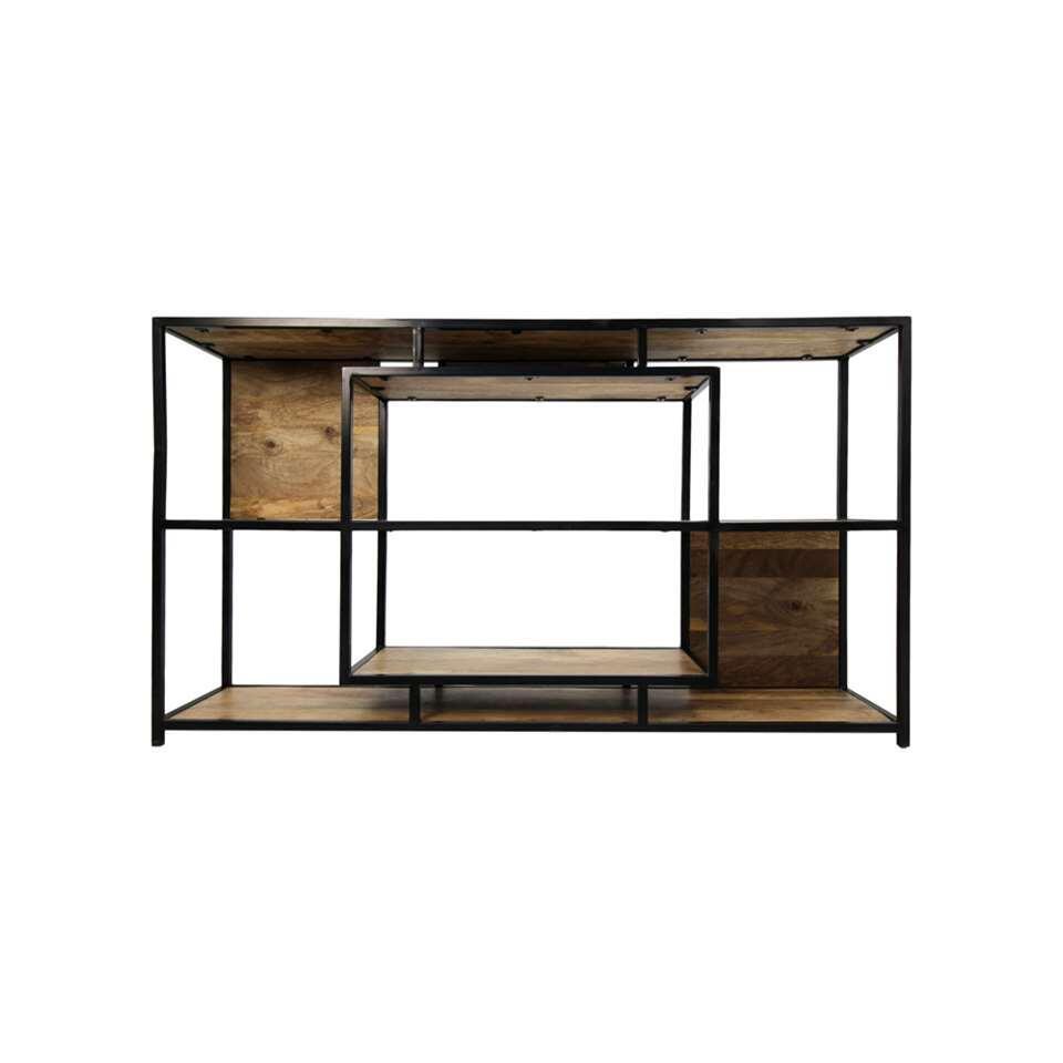 Wandkast Levels - naturel/zwart - 90x150x35 cm - Leen Bakker