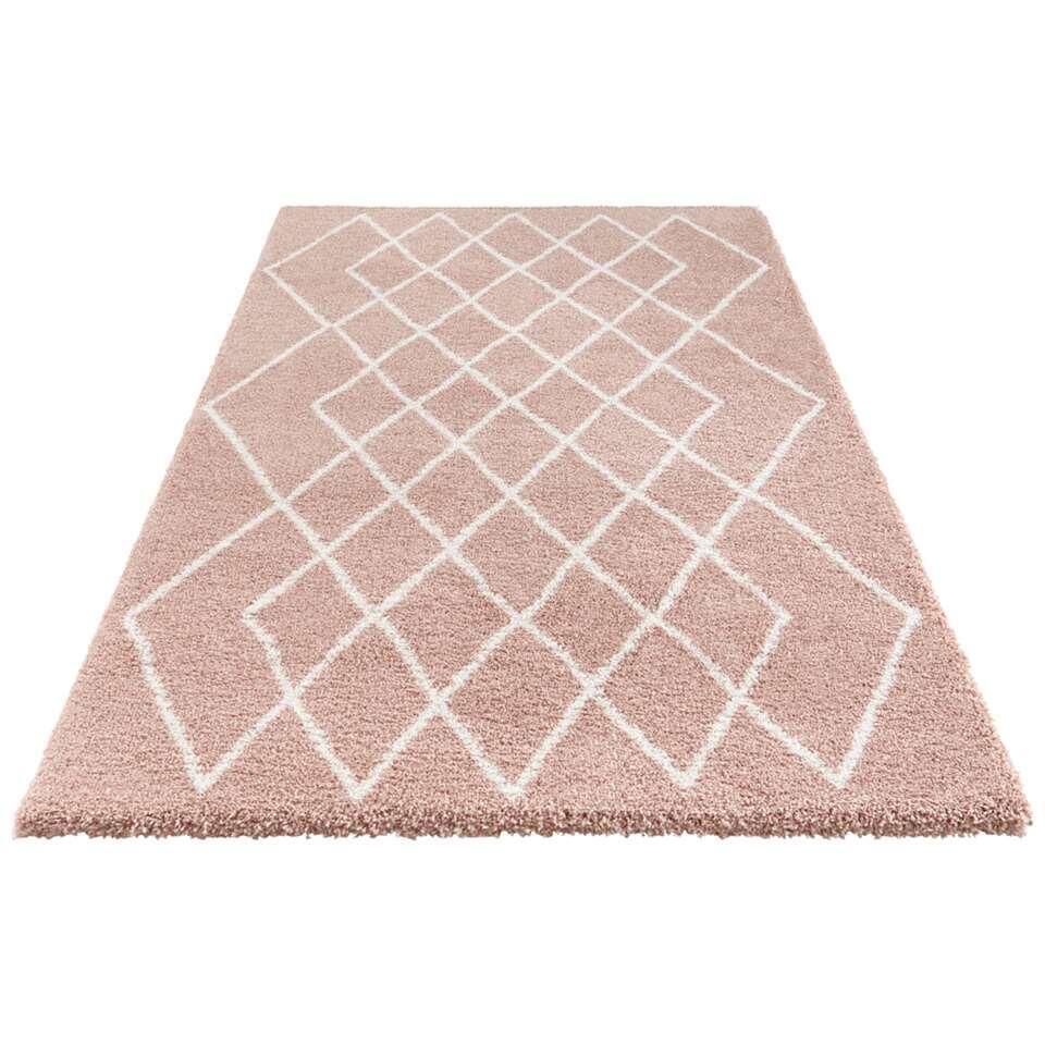 Elle Decor vloerkleed Bron - roze/crème - 200x290 cm - Leen Bakker