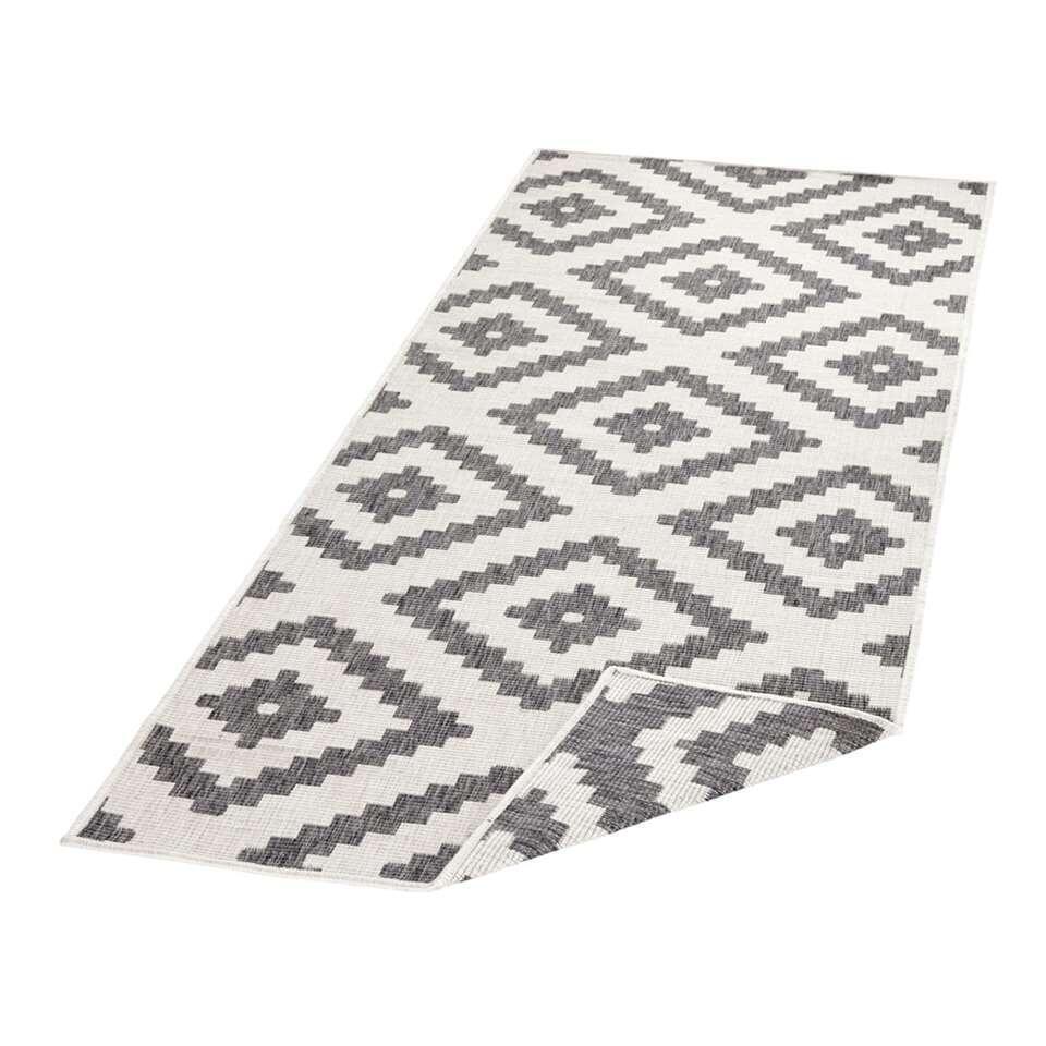 Bougari vloerkleed Malta - grijs/crème - 80x350 cm - Leen Bakker