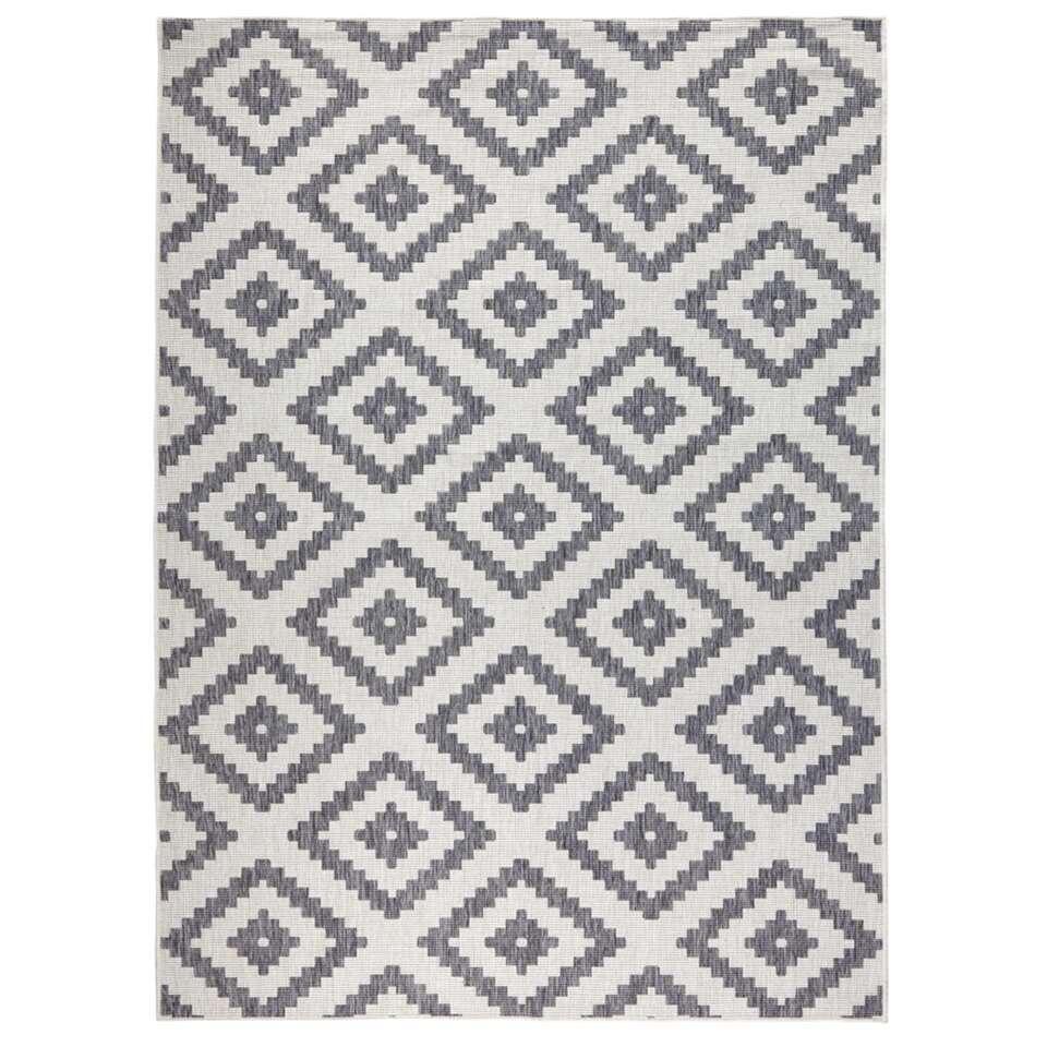 Bougari vloerkleed Malta - grijs/crème - 120x170 cm - Leen Bakker