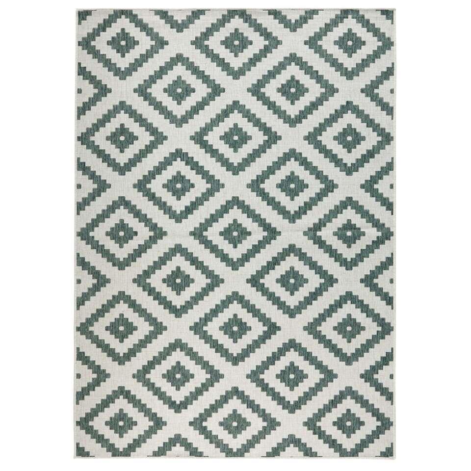 Bougari vloerkleed Malta - groen/crème - 120x170 cm - Leen Bakker