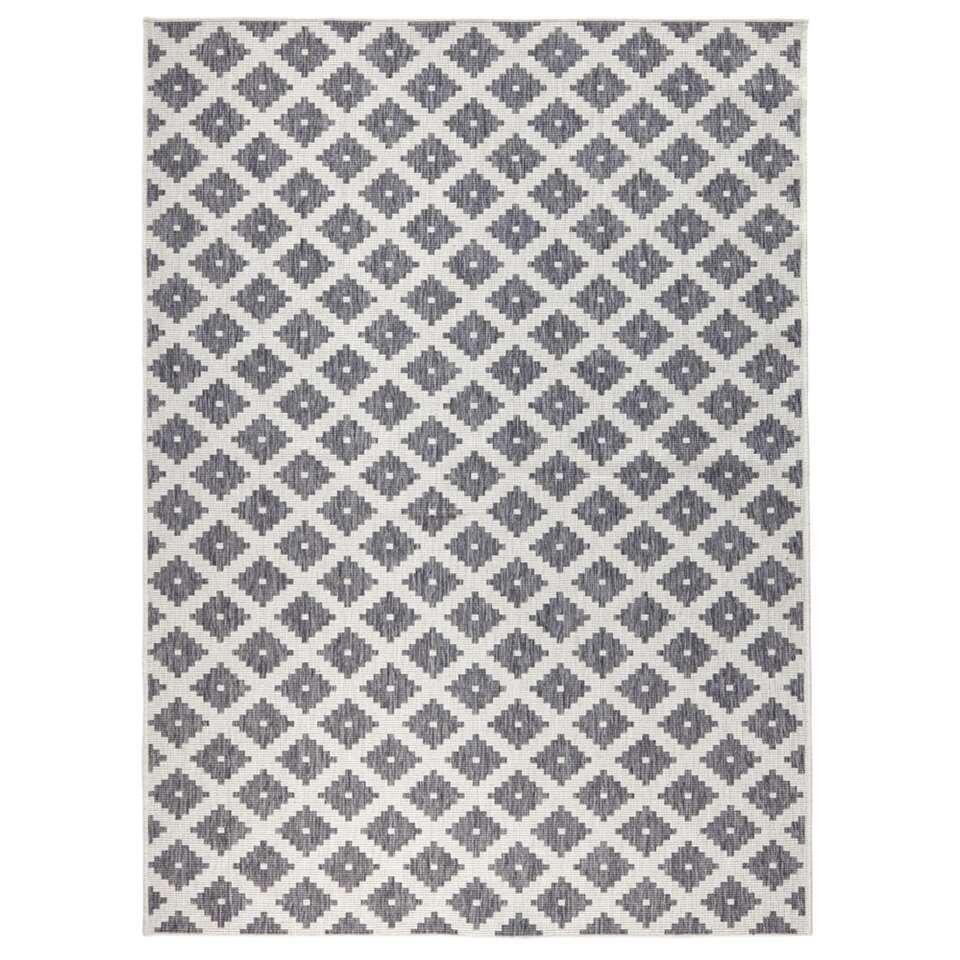 Bougari vloerkleed Nizza - grijs/crème - 120x170 cm - Leen Bakker