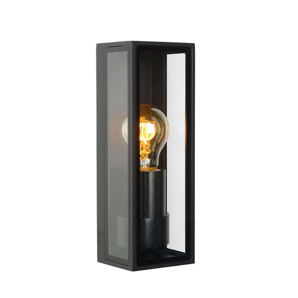 Lucide wandlamp Dukan - zwart - 9x8,6x25,8 cm