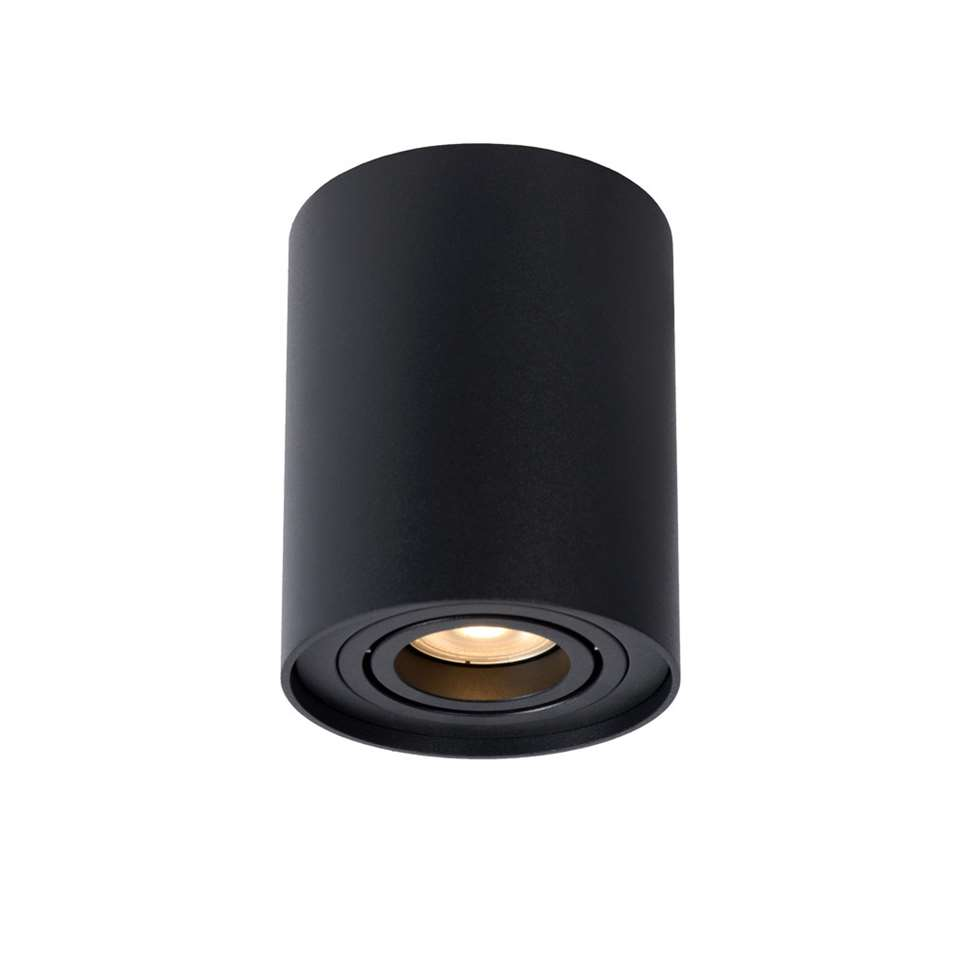 Lucide plafondspot Tube afgerond - zwart - 9,6x12,5 cm