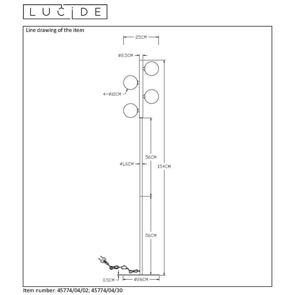 Lucide vloerlamp Tycho - mat goud - 22x22,5x154 cm