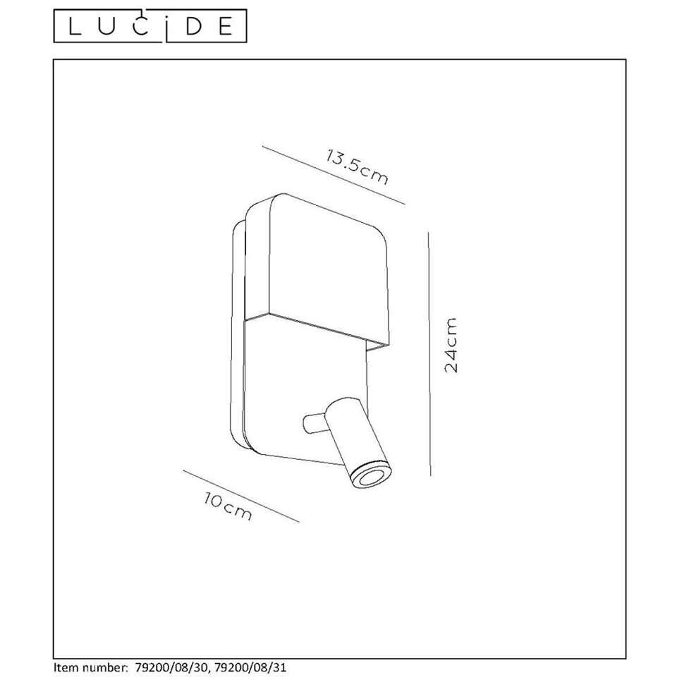 Lucide wandlamp Boxer - wit - 10x13,5x24 cm