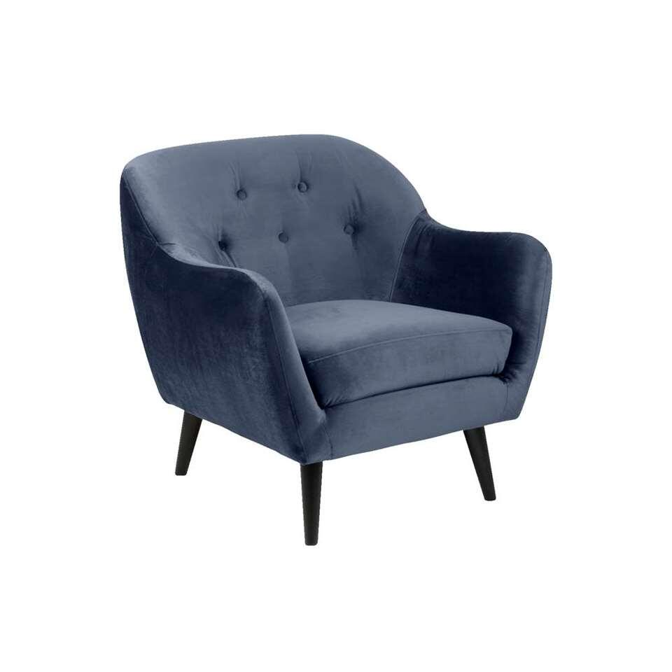Fauteuil Lucera - stof Letto - donkerblauw