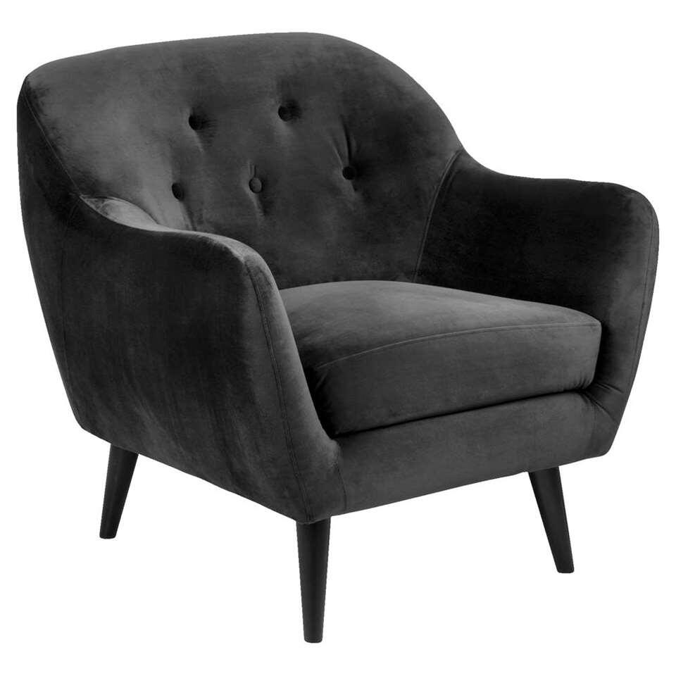 Fauteuil Lucera - stof Letto - antraciet