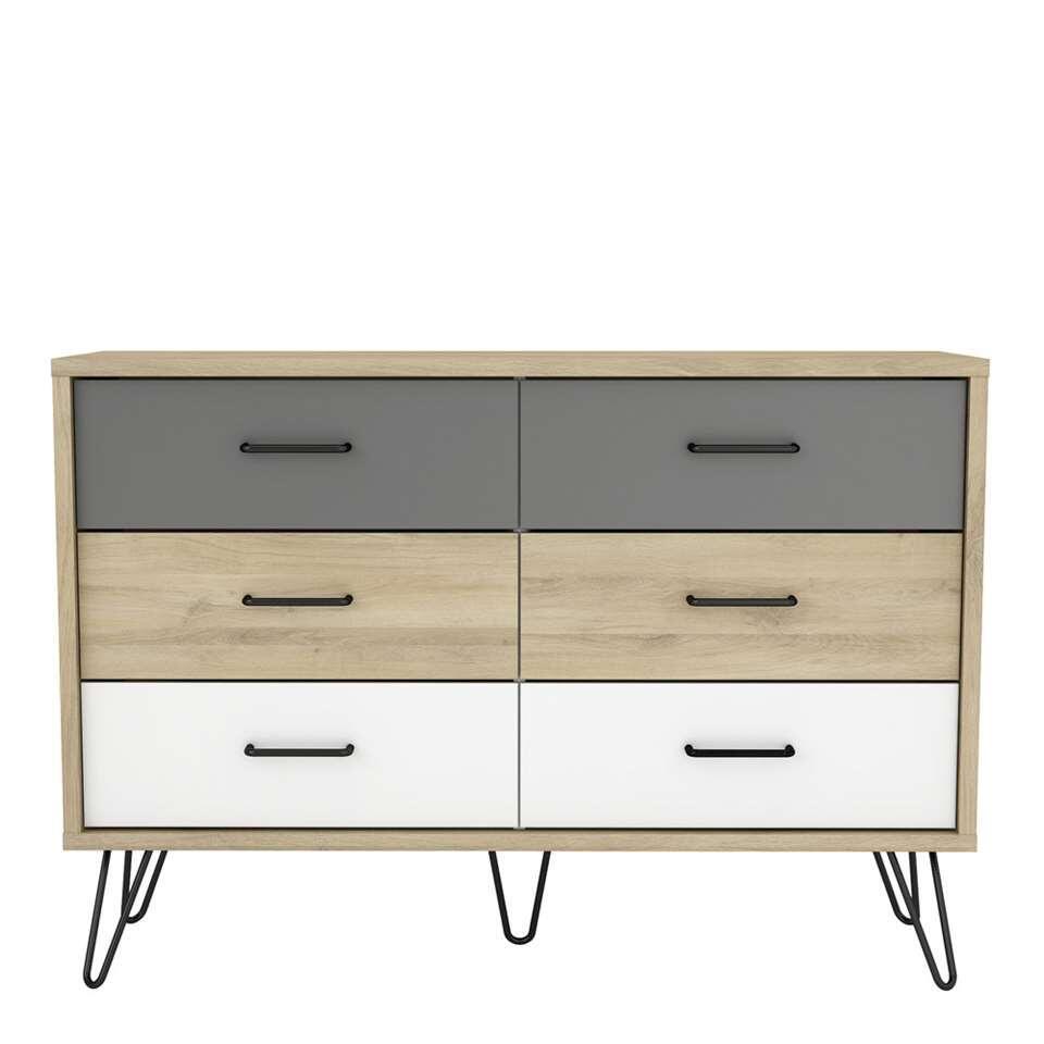 Demeyere dressoir Genk - eiken/wit/grijs - 81,5x116,7x42,3 cm