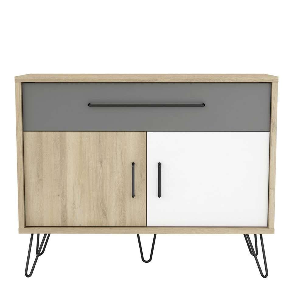 Demeyere dressoir Genk - eiken/wit/grijs - 81,5x102,4x42,4 cm
