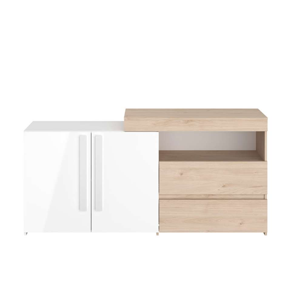 Parisot dressoir On air - eiken/hoogglans wit - 80x165x45 cm