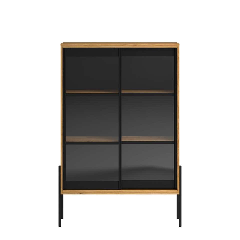 Parisot vitrinekast Junto - eiken/zwart - 152x103x40 cm