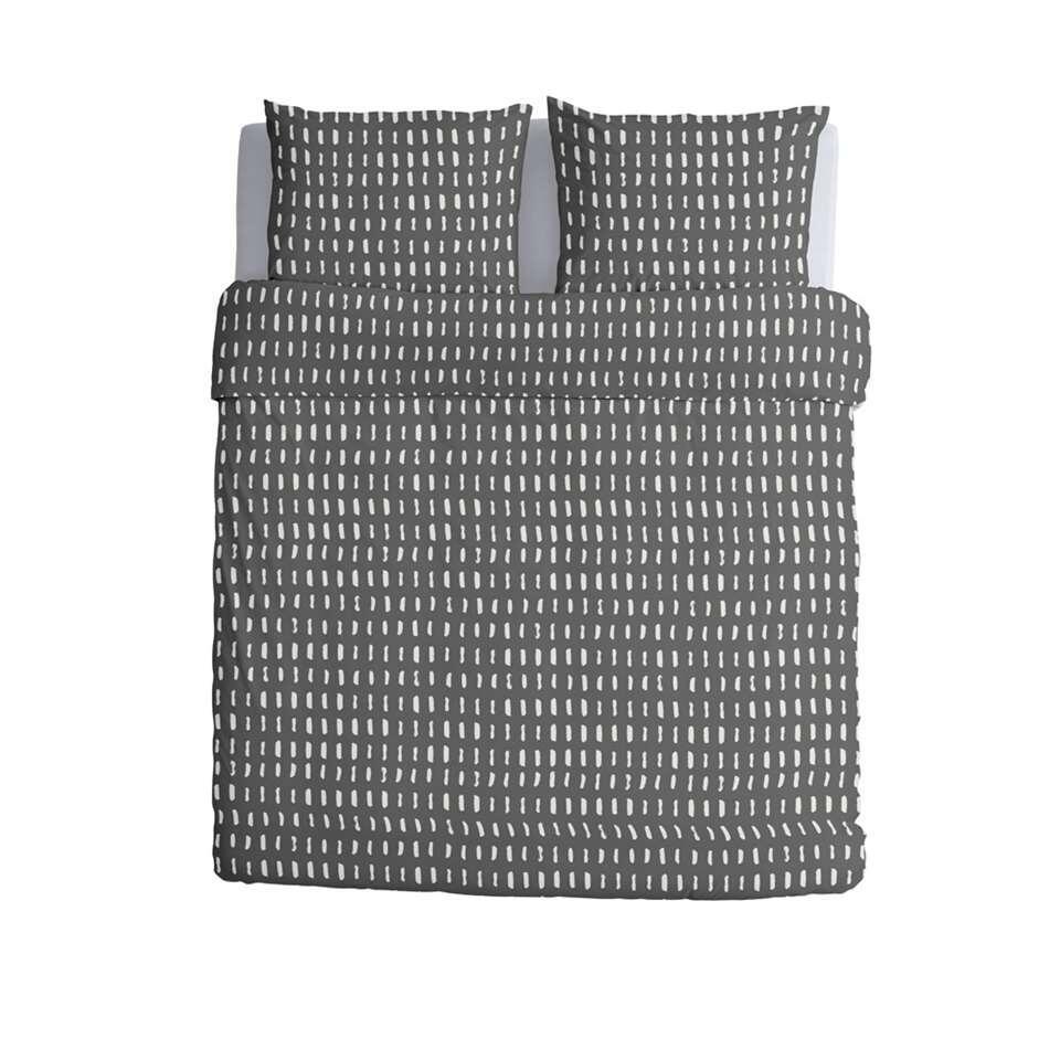 Walra dekbedovertrek Reversed Dashes - antraciet - 200x220/220 cm
