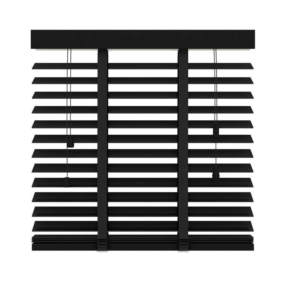 Jaloezie hout – mat zwart – 50 mm – 220×220 cm – Leen Bakker