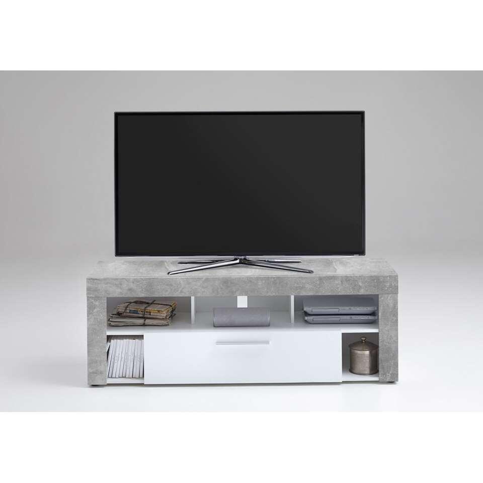 Tv-meubel Glendale - betonkleur/wit - 150x41x53 cm