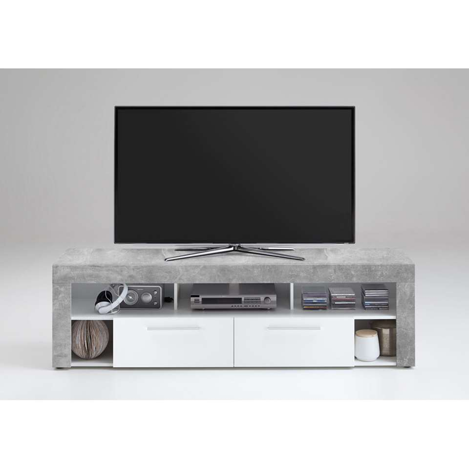 Tv-meubel Leiston - betonkleur/wit - 52,8x180x41,3 cm