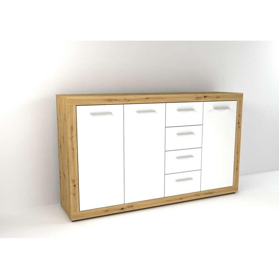 Dressoir Leiston - eikenkleur/wit - 90x152x37 cm