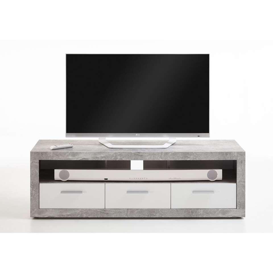 Tv-meubel Leiston - betonkleur/wit - 49x152x45,3 cm