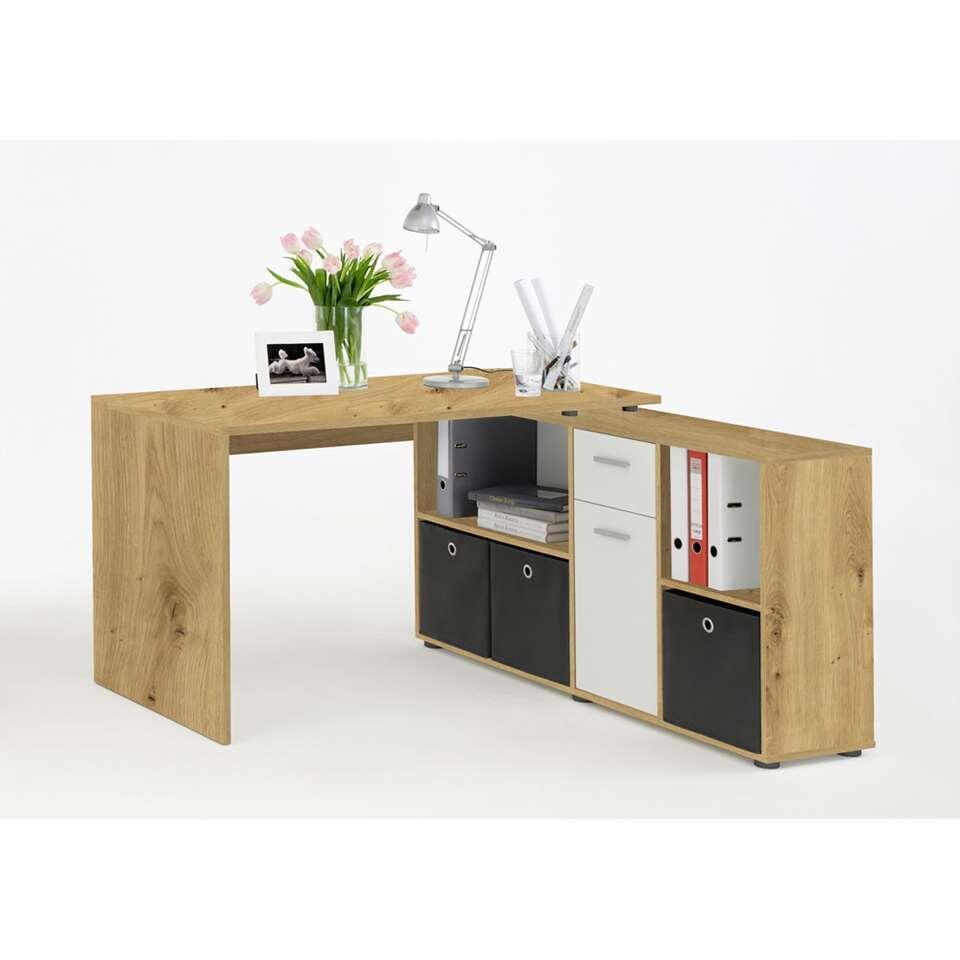 Bureau Lex - eikenkleur/wit - 136x68x75 cm