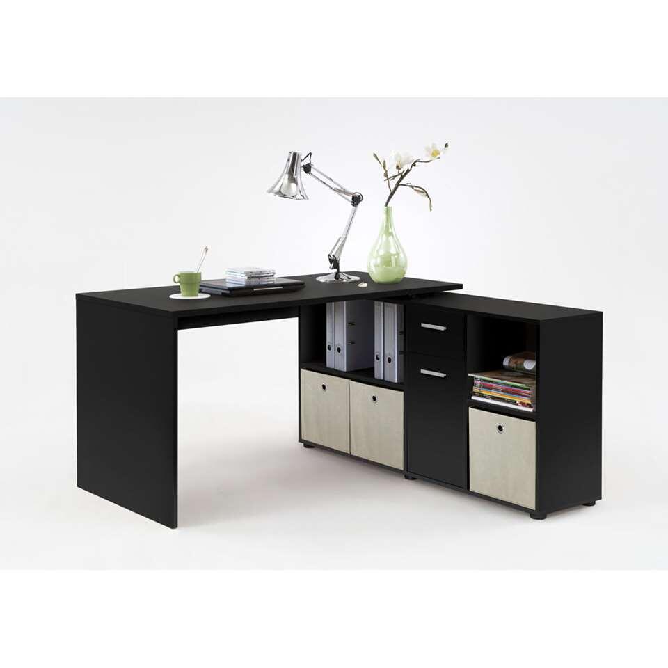 Bureau Lex - zwart - 136x68x75 cm