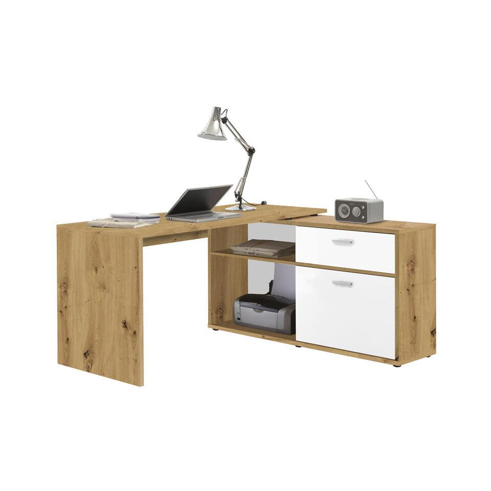Bureau Nils - eikenkleur/wit - 138x138x75 cm