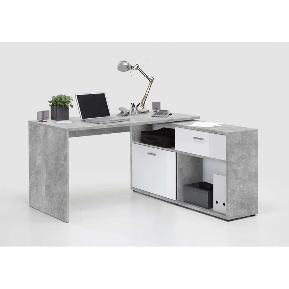 Bureau Nils - betonkleur/wit - 138x138x75 cm