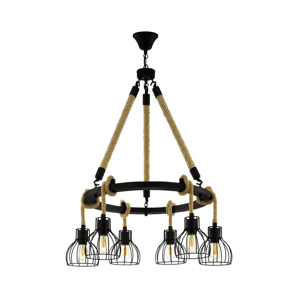 EGLO hanglamp 6-lichts Rampside - zwart/amber