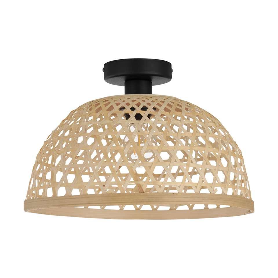 EGLO plafondlamp Claverdon - zwart/hout