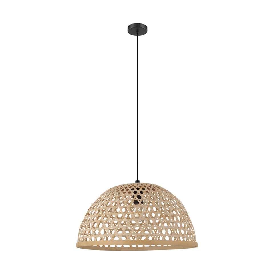 EGLO hanglamp Claverdon 49 cm – zwart/hout – Leen Bakker