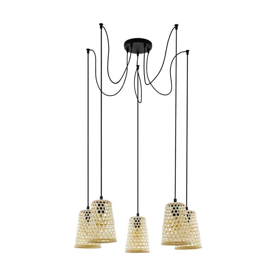 EGLO hanglamp 5-lichts Claverdon - zwart/hout