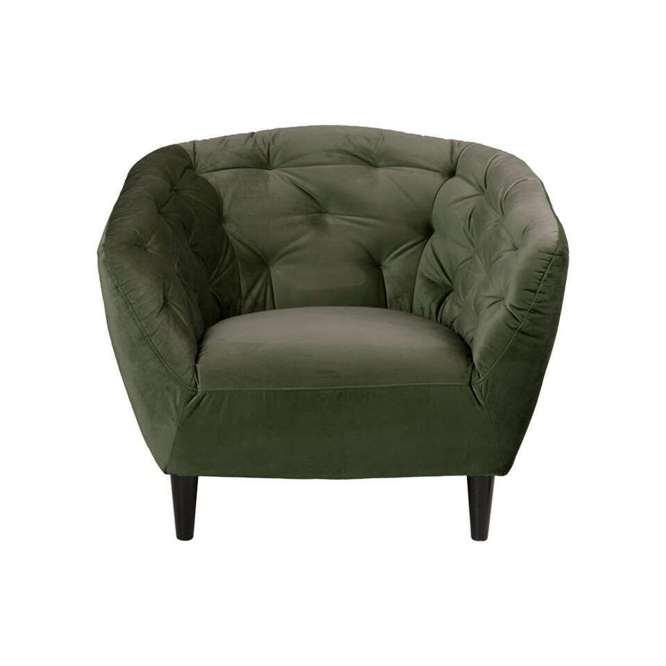 Fauteuil Thyrza - fluweel - groen