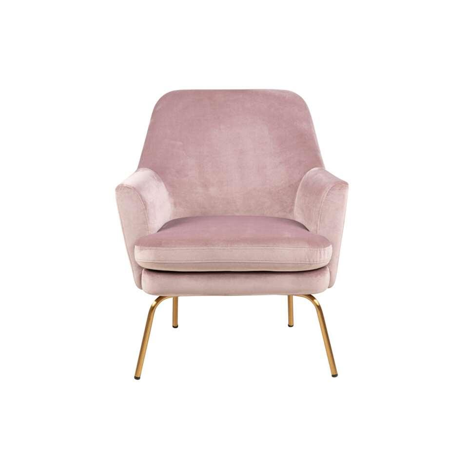 Fauteuil relax Ulla - velours - rose