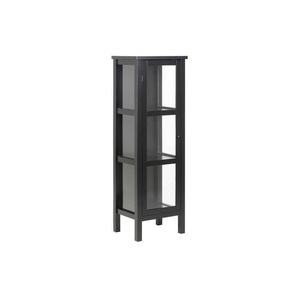 Vitrinekast Liza - zwart - 136,5x45,5x35,5 cm