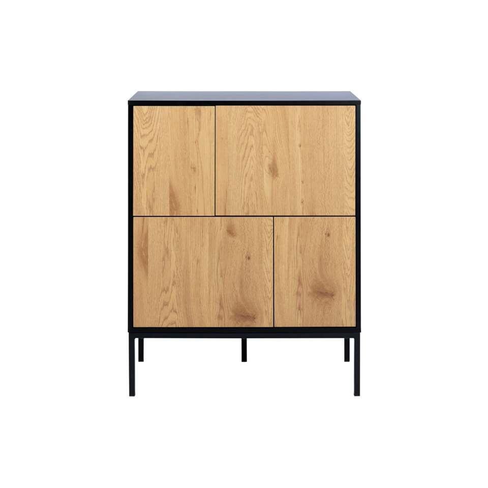 Dressoir Avola - zwart/eikenkleur - 103x80x40 cm
