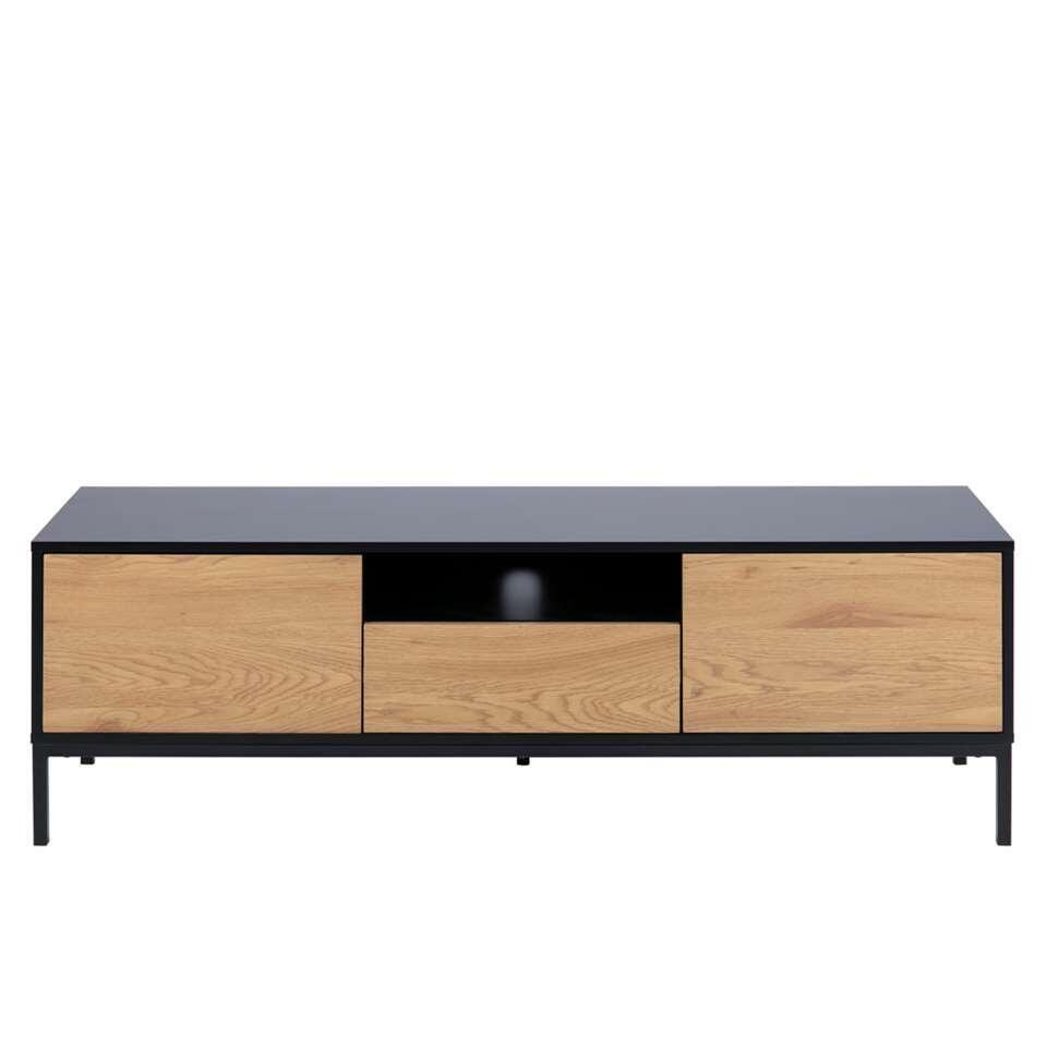 TV-meubel Avola - zwart/eiken - 45x140x40 cm
