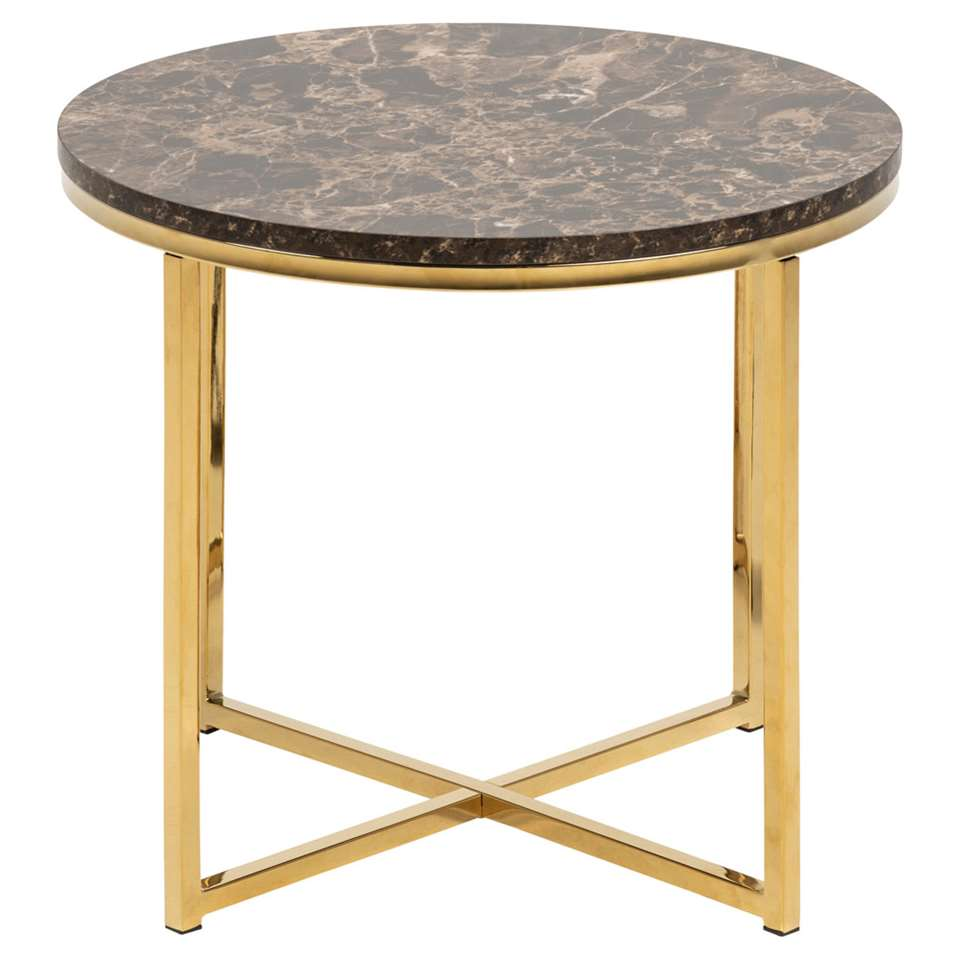 Bijzettafel Ostana - bruin/goudkleur - 42,7x50 cm