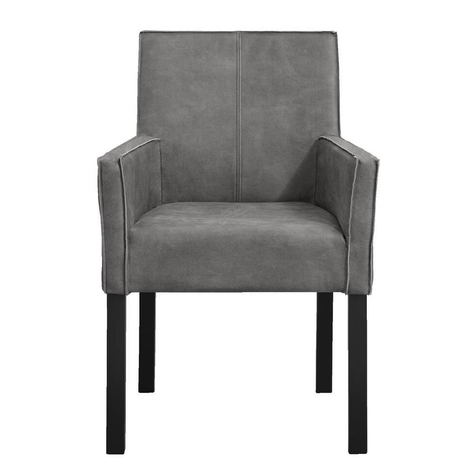 Chaise de salle à manger Casey avec bras - microcuir - gris foncé