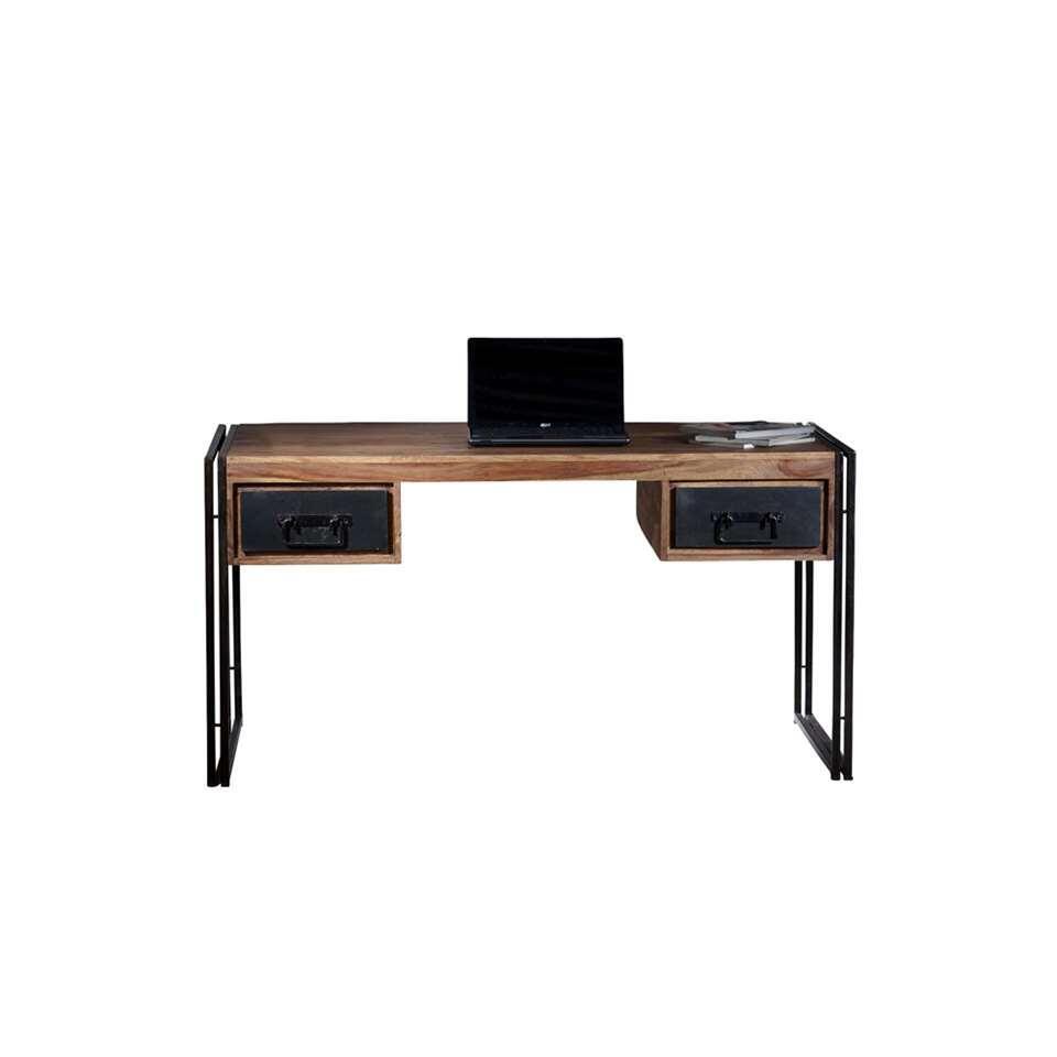 Bureau Quin - naturel/zwart - 76x150x80 cm - Leen Bakker