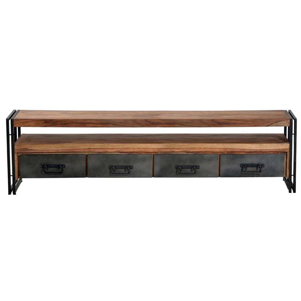 TV-meubel Quin - naturel/zwart - 55x200x40 cm
